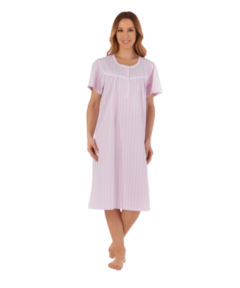 Seersucker Nightdress in Pink