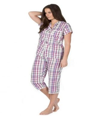 Ladies Cotton Pyjamas Purple Check