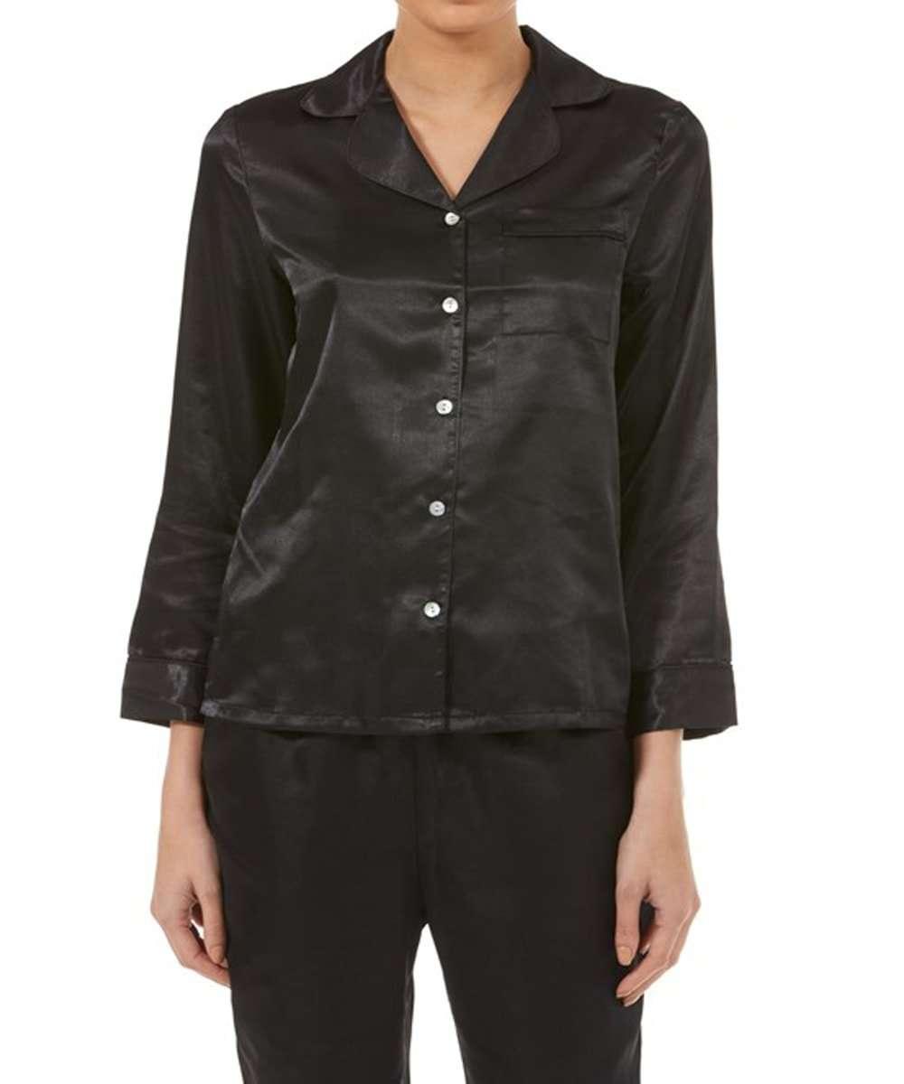 Ladies Black Satin Pyjamas From Gaspe