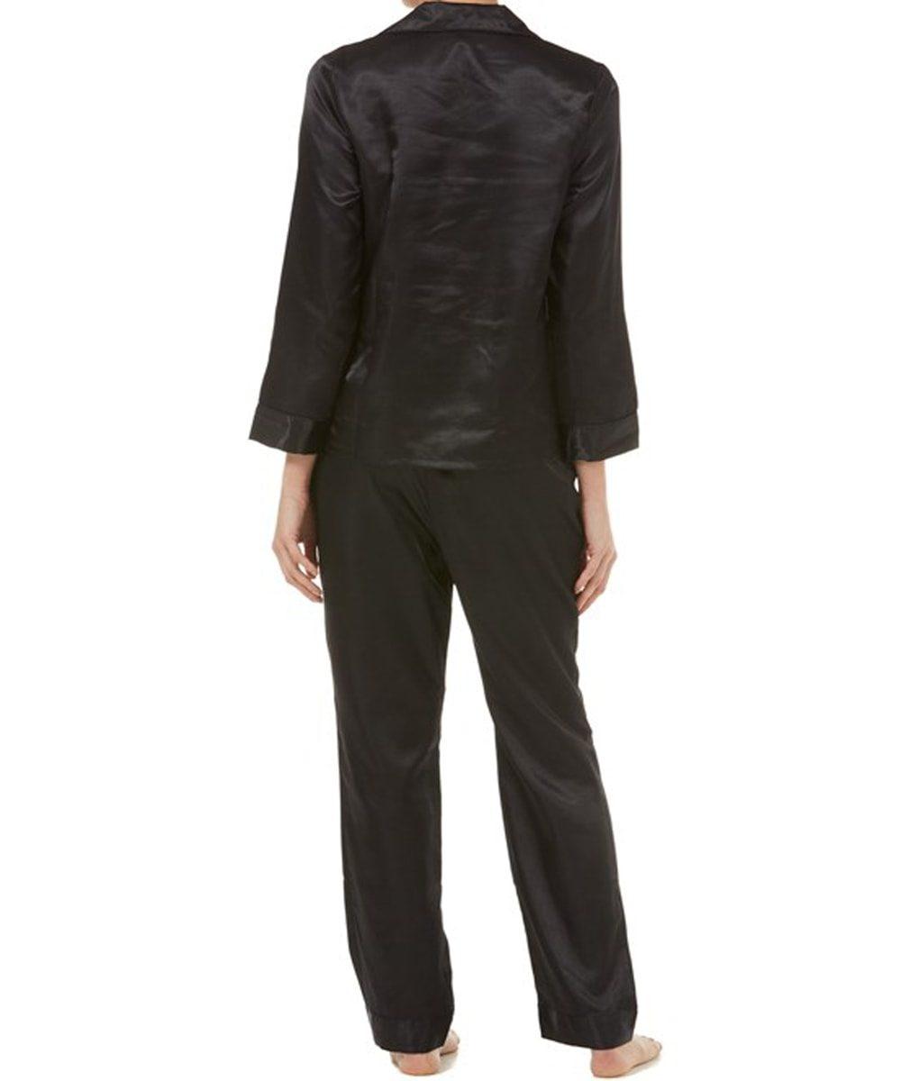 Ladies Black Satin Pyjamas Back
