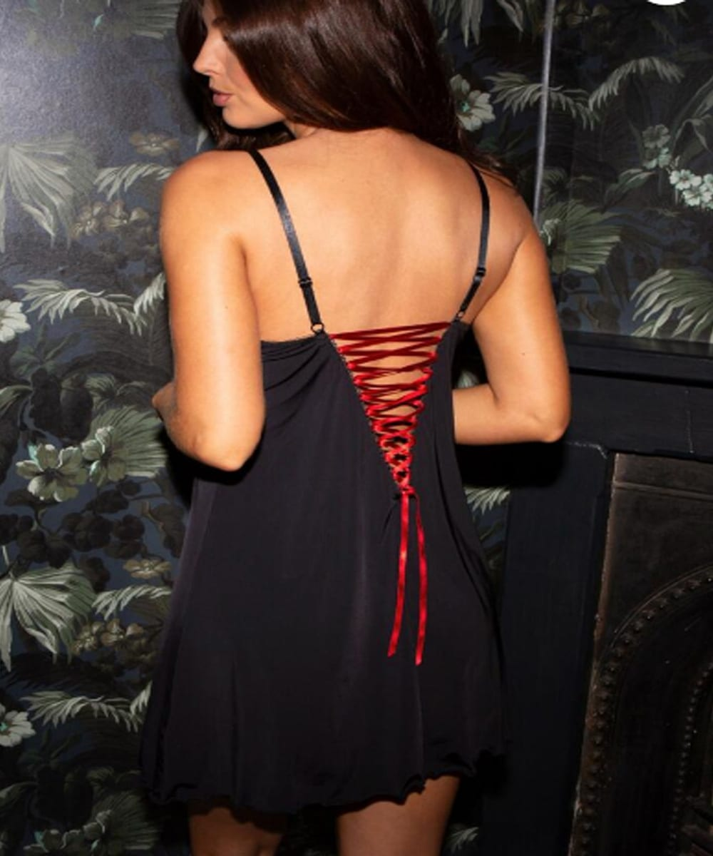 Back View of the Pour Moi Amour Chemise with Red Lace Up Panel