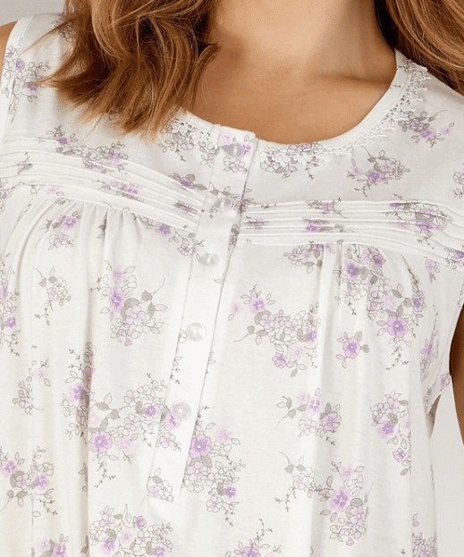 Floral White Nightdress Close Up